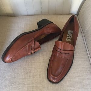 Nine West-Brown Leather Loafers Size 10